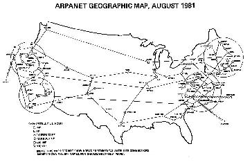 Mapa de ARPANET donde se aprecian las rutas redundantes entre nodos
