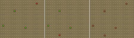 opinión). Las dos colecciones de hueveras de la izquierda corresponden a la opinión expresada por dos usuarios (los huevos que coinciden se han marcado con un rotulador verde y los que no en rojo). La huevera de la derecha contiene el resultado final.